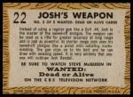 1958 Topps TV Westerns #22   Josh's Weapon  Back Thumbnail