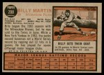 1962 Topps #208  Billy Martin  Back Thumbnail