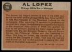 1962 Topps #286  Al Lopez  Back Thumbnail