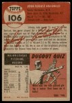 1953 Topps #106  Johnny Antonelli  Back Thumbnail