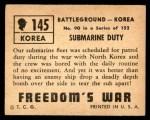 1950 Topps Freedoms War #145   Submarine Duty  Back Thumbnail