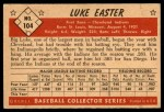 1953 Bowman #104  Luke Easter  Back Thumbnail