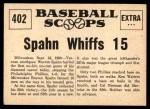1961 Nu-Card Scoops #402   -   Warren Spahn Warren Spahn Hurls No-Hitter, Whiffs 15 Back Thumbnail