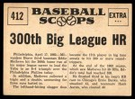 1961 Nu-Card Scoops #412   -  Eddie Mathews Eddie Mathews Blasts 300th Big League HR Back Thumbnail