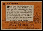 1956 Topps Davy Crockett #26 ORG  On Guard  Back Thumbnail