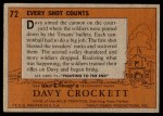 1956 Topps Davy Crockett #72 ORG  Every Shot Counts  Back Thumbnail