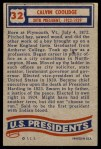 1956 Topps U.S. Presidents #32  Calvin Coolidge  Back Thumbnail