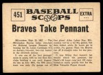 1961 Nu-Card Scoops #451   -   Take Pennant  Braves Take Pennant Back Thumbnail