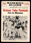 1961 Nu-Card Scoops #451   -   Take Pennant  Braves Take Pennant Front Thumbnail