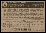1952 Topps #15 BLK Johnny Pesky  Back Thumbnail