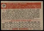 1952 Topps #229  Gene Beardon  Back Thumbnail