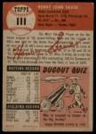 1953 Topps #111  Hank Sauer  Back Thumbnail