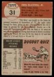 1953 Topps #31  Ewell Blackwell  Back Thumbnail
