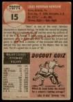 1953 Topps #15  Bobo Newsom  Back Thumbnail