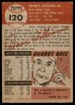 1953 Topps #120  Davey Williams  Back Thumbnail