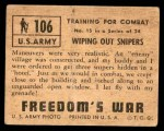 1950 Topps Freedoms War #106   Wiping Out Snipers  Back Thumbnail