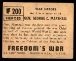 1950 Topps Freedoms War #200   General George C. Marshall  Back Thumbnail