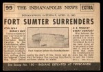 1954 Topps Scoop #99   Fort Sumter Surrenders Back Thumbnail