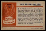 1954 Bowman Power for Peace #63   Large and Heavy - But Light! Back Thumbnail