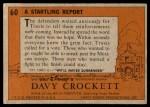 1956 Topps Davy Crockett #60 ORG  Startling Report  Back Thumbnail