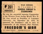 1950 Topps Freedoms War #201   General Dwight D. Eisenhower  Back Thumbnail