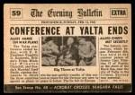 1954 Topps Scoop #59   Big 3 Meet At Yalta  Back Thumbnail