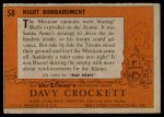 1956 Topps Davy Crockett #58 ORG  Night Bombardment  Back Thumbnail