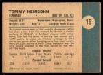1961 Fleer #19  Tom Heinsohn  Back Thumbnail