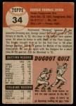 1953 Topps #34  George Shuba  Back Thumbnail