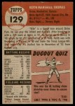 1953 Topps #129  Keith Thomas  Back Thumbnail