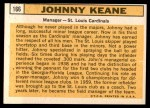 1963 Topps #166  Johnny Keane  Back Thumbnail
