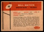 1960 Fleer #99  Bill Mathis  Back Thumbnail