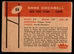 1960 Fleer #56  Gene Cockrell  Back Thumbnail
