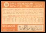 1964 Topps #181  Dave Wickersham  Back Thumbnail