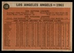 1962 Topps #132 NRM  Angels Team Back Thumbnail