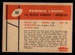 1960 Fleer #90  Rommie Loudd  Back Thumbnail