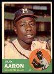 1963 Topps #390  Hank Aaron  Front Thumbnail