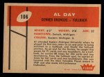 1960 Fleer #106  Al Day  Back Thumbnail