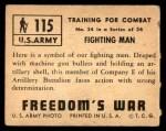 1950 Topps Freedoms War #115   Fighting Man  Back Thumbnail