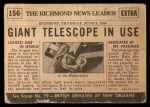 1954 Topps Scoop #156   World's Largest Telescope Built Back Thumbnail