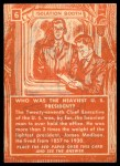 1957 Topps Isolation Booth #6   Heaviest US President Back Thumbnail