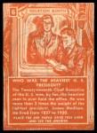 1957 Topps Isolation Booth #6   Heaviest US President Back Thumbnail