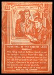 1957 Topps Isolation Booth #22   Tallest Land Animal Back Thumbnail