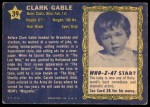 1953 Topps Who-Z-At Star #39  Clark Gable  Back Thumbnail