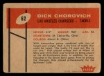 1960 Fleer #62  Dick Chorovich  Back Thumbnail