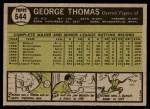 1961 Topps #544  George Thomas  Back Thumbnail