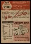 1953 Topps #230  Johnny Lindell  Back Thumbnail