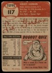1953 Topps #117  Sid Gordon  Back Thumbnail