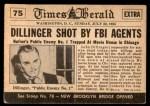 1954 Topps Scoop #75   Dillinger Shot Back Thumbnail