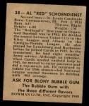 1948 Bowman #38  Red Schoendienst  Back Thumbnail